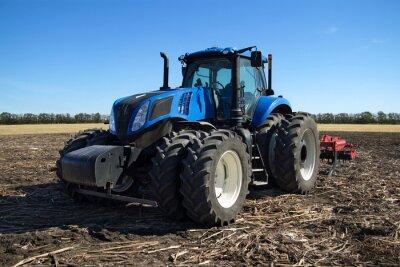 Plakát Modrá traktor s pluhem