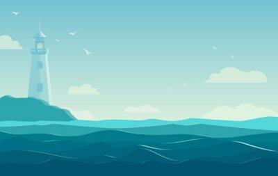 Plakát modré moře pozadí s vlnami a maják. vektorové ilustrace
