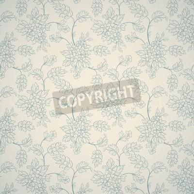 Plakát Modrý květinový ornament na světlém pozadí