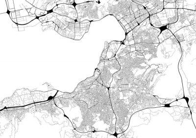 Plakát Monochromatický mapa města s silniční sítě Izmir