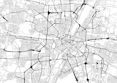 Plakát Monochromatický mapa města s silniční sítě Mnichov