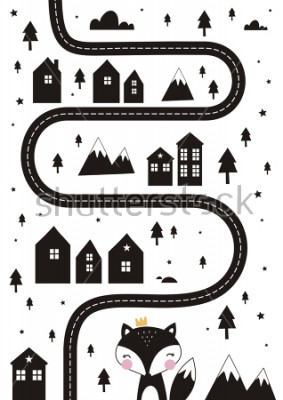 Plakát Monochrome Scandinavian vector maze. Cartoon roads with house, tree and car for kids. Vector maze cartoon poster. You can use it to print on the carpet for the decor of the children's room.