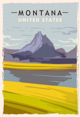 Plakát Montana retro poster. USA Montana travel illustration. United States of America greeting card. vector illustration.