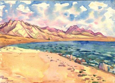 Plakát moře a hory. Krajina. akvarelu