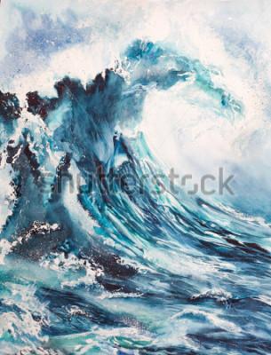 Plakát mořská vlna akvarel malování