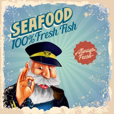 Plakát mořské plody čerstvé ryby kapitán