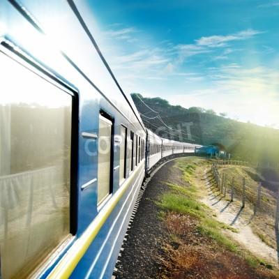 Plakát Motion a Blue Train vůz. Městská doprava