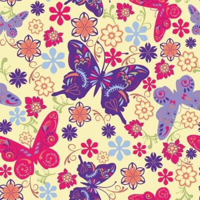 Plakát Motýl a květiny bezešvé vzor - Ilustrace