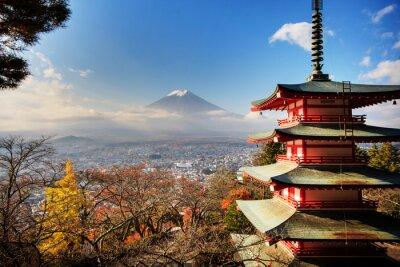 Plakát Mt. Fuji s poklesem barvy v Japonsku.