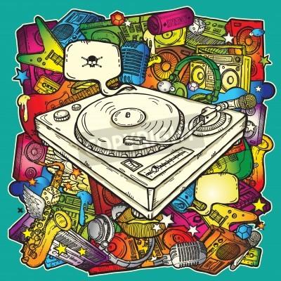 Plakát Music background in color