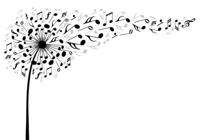 Plakát music dandelion flower, vector illustration