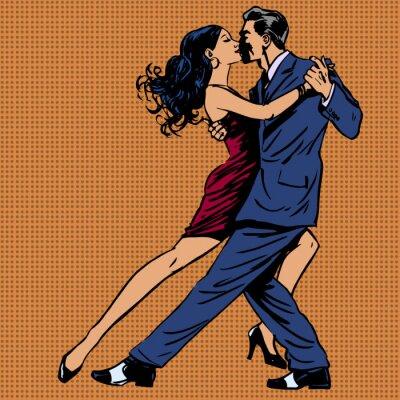 Plakát Muž a žena polibek tanec tango pop art