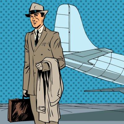 Plakát Muž cestující vzduchu cestovatel služební cesta podnikatel pop art re