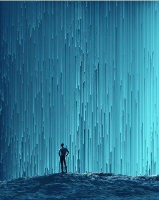 Plakát muž při pohledu na digitální tok