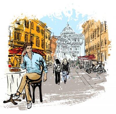 Plakát muž sedí v kavárně