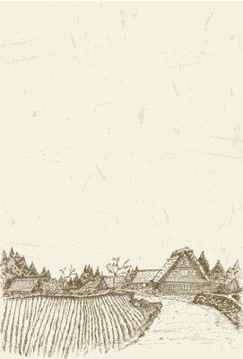 Plakát Náčrt světového dědictví vesnice Shirakawa-go v Japonsku