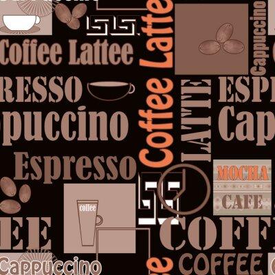 Plakát Nápisy káva a ikony bezešvé vzor retro pozadí