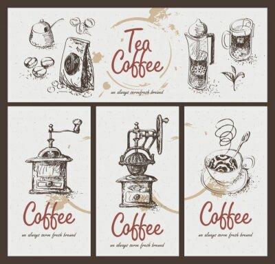 Plakát nastavit výkres nádobí pro pití čaje a kávy