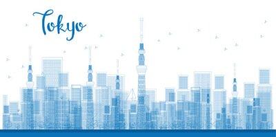 Plakát Nastínit Tokio města mrakodrapy v modré barvě.