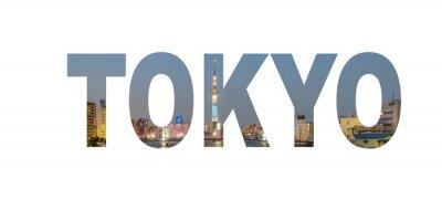 Plakát Název značka Tokyo City s fotografii v pozadí. Samostatný na bílém pozadí ..