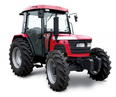 Plakát New red tractor isolated on white background