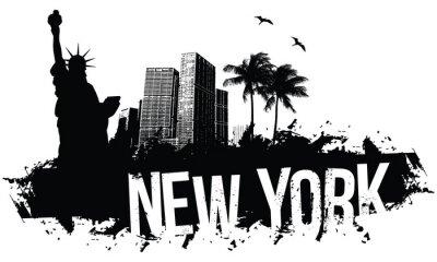 Plakát New York Bannery černá