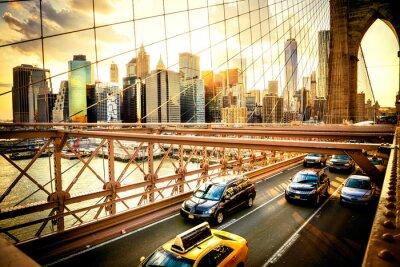 Plakát New York City, Brooklyn Bridge Skyline