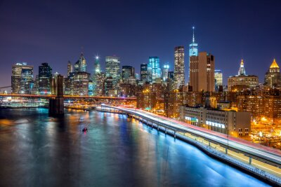 Plakát New York City noční scéna s Manhattan panorama a Brooklin B
