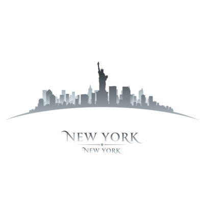 Plakát New York city panorama silueta bílém pozadí