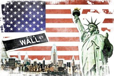 Plakát New York City vinobraní koláž, USA vlajka na pozadí
