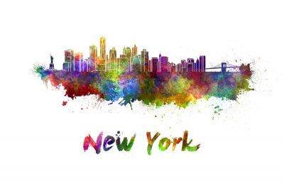 Plakát New York panorama v akvarel