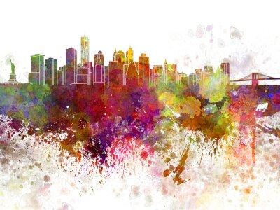Plakát New York panorama v2 v akvarelu pozadí