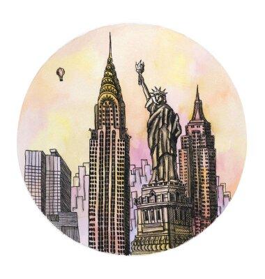 Plakát New York se svoboda památka akvarel ruční kreslení, famouse arhitectural buillding na bílém pozadí.