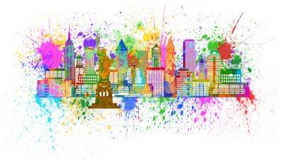 Plakát New York Skyline Paint Splatter ilustrace