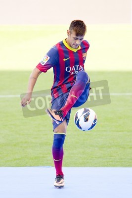 Plakát Neymar Junior, a FC barcelona new player, poses for the photographers during his official presentation at the Camp Nou stadium , on June 3, 2013, in Barcelona, Spain