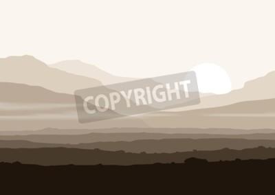 Plakát Neživý krajina s obrovskými horami nad slunce. Vector eps10 panorama.