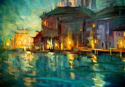 Plakát noční krajina do Benátek, malba olejem na překližce, ilustrátoři