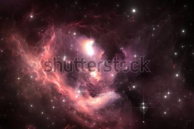Plakát Noční obloha prostor pozadí s mlhovinou a hvězdy, ilustrace