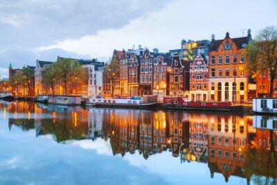 Plakát Noční pohled město Amsterdam, Nizozemí