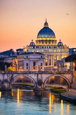 Plakát Noční pohled na baziliku svatého Petra v Římě, Itálie