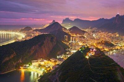 Plakát Noční pohled na Rio de Janeiru v Brazílii