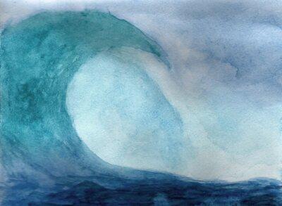 Plakát Oceánských vln v akvarelu