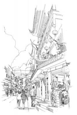 Plakát od ruky skica čínské budovy a městské ulice