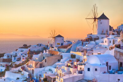 Plakát Oia Západ slunce, ostrov Santorini, Řecko