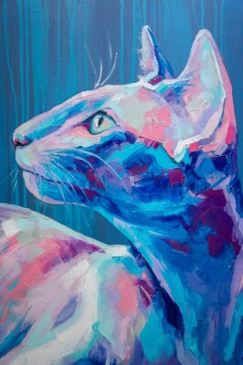 Plakát Oil cat portrait painting in moon tones. Conceptual abstract painting of a cat muzzle. Closeup of a painting by oil and palette knife on canvas.