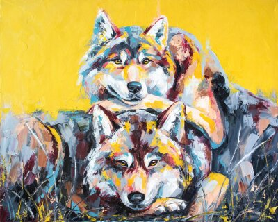Plakát Oil wolf portrait painting in multicolored tones. Conceptual abstract painting of a couple wolves. Closeup of a painting by oil and palette knife on canvas.