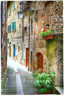 Plakát okouzlující staré ulicích středověkých měst v Itálii