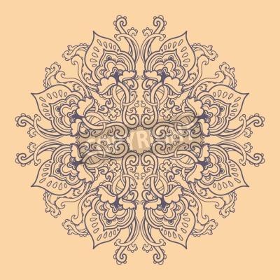 Plakát Okrasné kolo krajky květinový vzor. kaleidoskopický květinovým vzorem, mandala.
