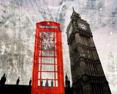 Plakát Old London Skládání Telefonzelle und Big Ben