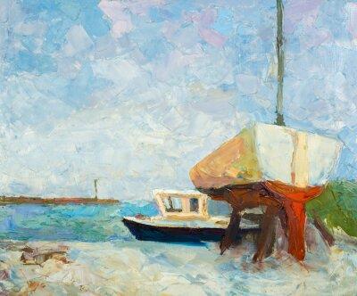 Plakát Olej na plátně. Yacht a loď